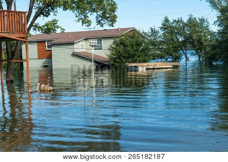 Entire Neighborhood Flooded And Under Water , Evacuations After Dangerous And Deadly Weather Event ,