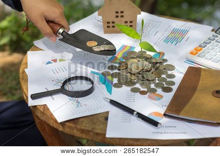 Human Hand Counts His Coins. Personal Finance, Finance Management, Savings,coins In Finance Banking