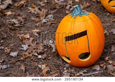 Music Note Carved Into Pumpkin For Halloween
