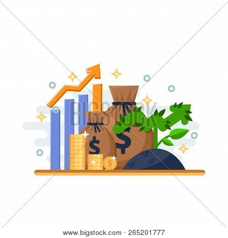 Investment, Development And Finance Growth Business Concept. Arrow Plant Coins And Financial Graph.