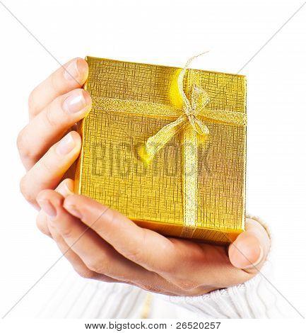 Golden Gift In Hands