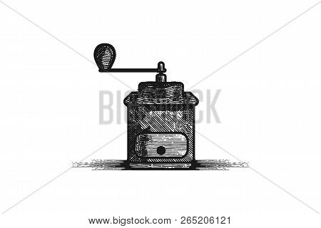 Hand Drawn Grinder, Roaster, Coffee Logo Designs Inspiration Isolated On White Background