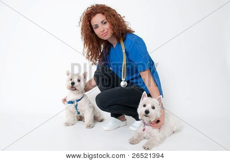 Female Vet With Dogs