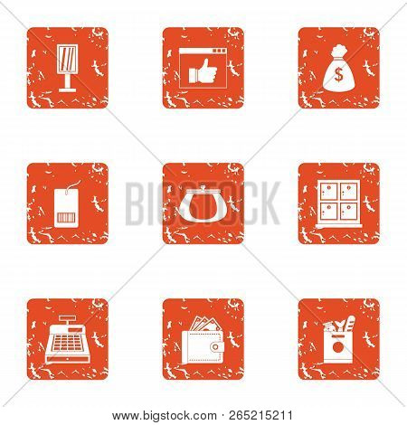 Cash Register Icons Set. Grunge Set Of 9 Cash Register Vector Icons For Web Isolated On White Backgr