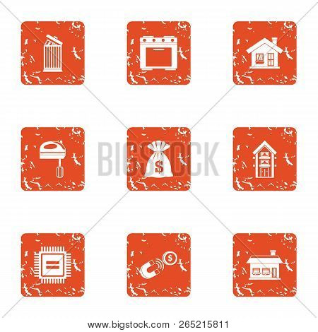 Grist Icons Set. Grunge Set Of 9 Grist Vector Icons For Web Isolated On White Background