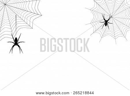 Spiders Black Silhouette Hanging On Corner Web Isolated On White Background. Spooky Insect Drawing I