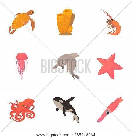 Peaceful Water Animal Icons Set. Cartoon Set Of 9 Peaceful Water Animal Vector Icons For Web Isolate