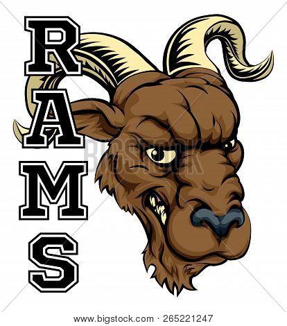 An Illustration Of A Cartoon Ram Sports Team Mascot With The Text Rams
