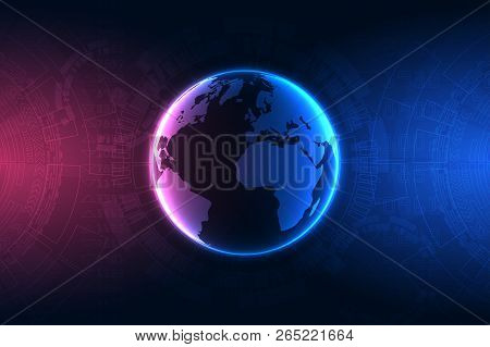Technology Concept. Internet Connection, Abstract Technology Graphic Design..the Concept Of Global N