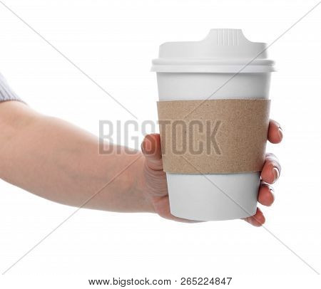 Female Hand Holding Eco Cup With Freshly Brewed Coffee Isolated On White Background