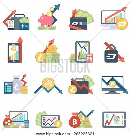 Set Of Icons With Ico Blockchain Concept, Safe Bitcoin, Cryptocurrency Mining, Startup Project. Comp