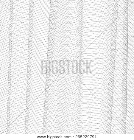 Abstract Net Imitation With Vertical Drapery. Gray Squiggle Thin Lines, Curves. Vector Monochrome St