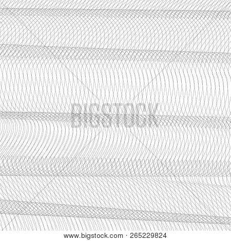 Abstract Net Imitation With Horizontal Drapery. Gray Squiggle Thin Lines, Curves. Vector Monochrome