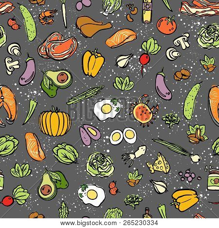 Ketogenic Food Vector Seamless Pattern, Sketch. Healthy Keto Food - Fats, Proteins And Carbs On Endl
