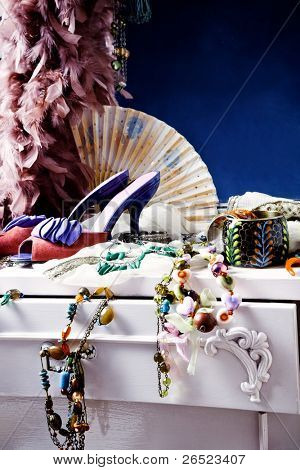 woman's dressing table with lot of fashion accessories