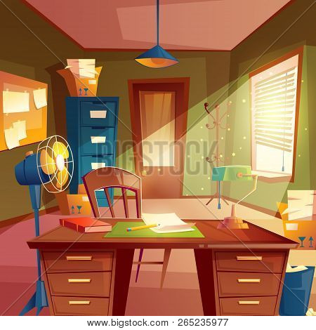 Illustration Of Working Space, Study Room Interior. Desktop With Table, Cabinet, Lamp, Fan, Bookshel