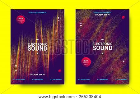 Electronic Festival Music Poster. Party Sound Flyer With Dotted Lines And Round With Movement Effect