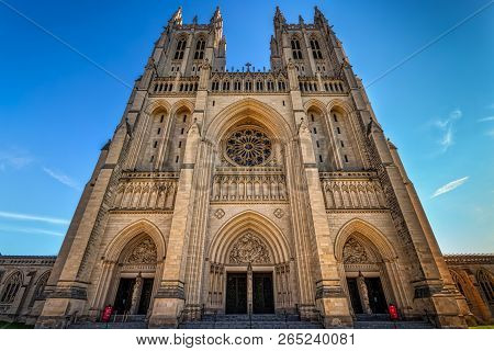 The Front Of The National Cathedral In Washington, Dc.