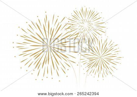 New Year Fireworks Decoration Isolated On White Background Vector Illustration Eps10