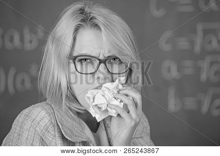 Teacher ready to eat her paperwork. Teacher eats piece of paper absorb information. Thirst of knowledge. Woman teacher eats crumpled piece of paper chalkboard background. Hungry for knowledge poster