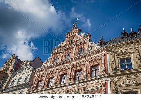 Facade Of Historic Renaissance House In The Fischmarkt. City Center. Erfurt, Germany