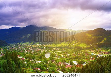 Top View Of A Village In The Mountains, Sunrise. Carpathians Ukraine Verkhovyna