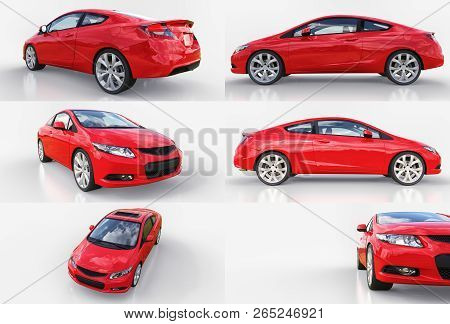 Red Small Sports Car Coupe. 3d Rendering.