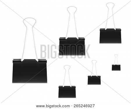 Clamp For Paper, Realistic Vector Illustration. Various Sizes Set. Black Metal Binder Clips Isolated