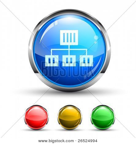 Network Cristal Glossy Button with light reflection and Cromed ring. 4 Colours included.
