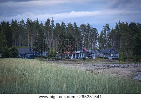 Baltic Sea, Sweden On July 04. Evening View Of The Beach And Some Seaside Buildings On July 04, 2018