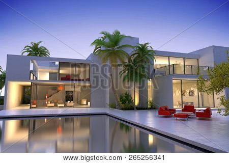 3D rendering of a Beautiful modern luxurious house with swimming pool