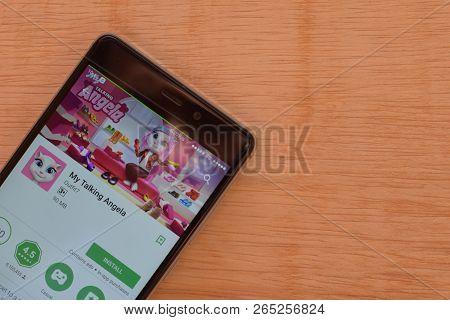 Bekasi, West Java, Indonesia. October 27, 2018 : My Talking Angela Dev App On Smartphone Screen. My