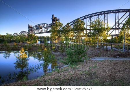 Old Walking Bridge And Park