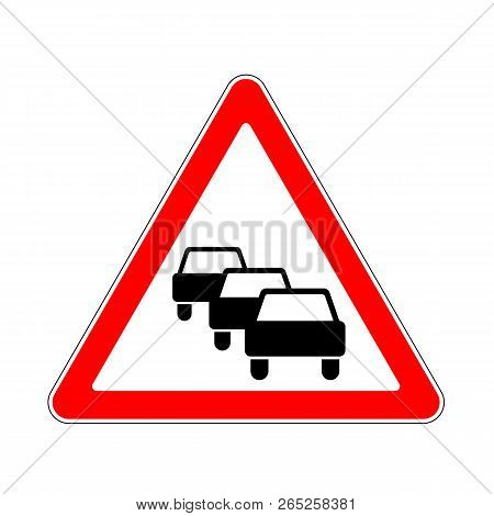 Road Sign Warning Traffic Congestion On White Background