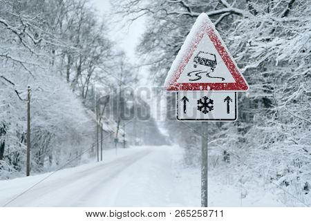 Winter Driving - Heavy Snowfall On A Country Road. Driving On It Becomes Dangerous ...