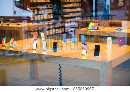 Strasbourg, France - Oct 26, 2018: Hero Object Of The Latest Iphone Xr Smartphone In Apple Store Com