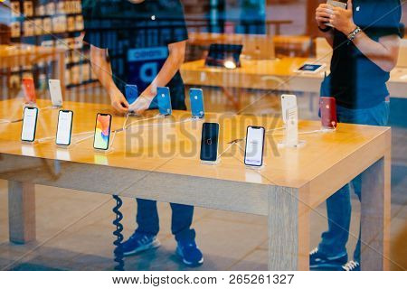 Strasbourg, France - Oct 26, 2018: Apple Genius Next To Latest Iphone Xr Smartphone In Apple Store C
