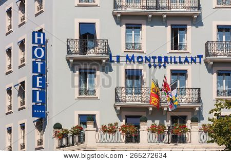 Geneva, Switzerland - September 24, 2016: Facade Of The Building Of The Hotel Le Montbrilliant. The