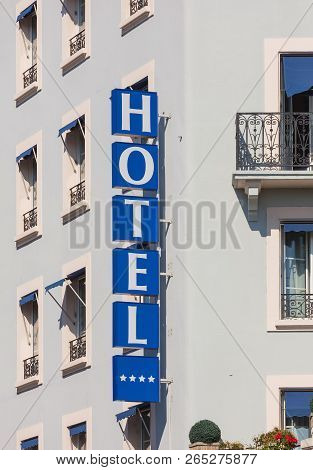Geneva, Switzerland - September 24, 2016: Sign On The Building Of The Hotel Le Montbrilliant. The Ho