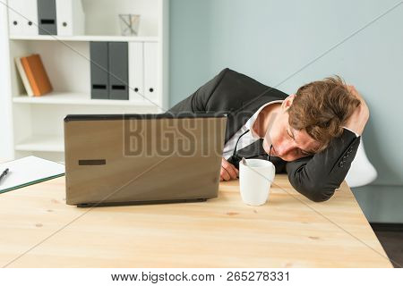 Joke, Business People And Humor Concept - Tired Businessman Sleeping After Hard Working Day In Offic