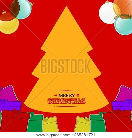 Christmas Red Background With Yellow Tree Baubles Gift Boxes And Decorative Text