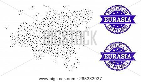 Dotted Black Map Of Europe And Asia And Blue Rubber Stamp. Vector Map Of Europe And Asia Constructed
