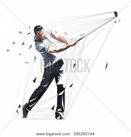 Golf Player, Low Polygonal Golfer, Isolated Vector Illustration. Golf Swing