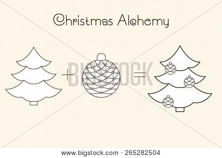 Thin Line Icons Of Christmas Time And X-mas Elements. Christmas Alchemy. Linear Collection.