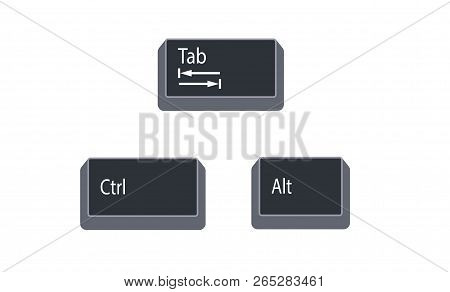 Control (ctrl), Alternate (alt) And Tab Computer Key Button Vector Isolated On White Background. Ctr