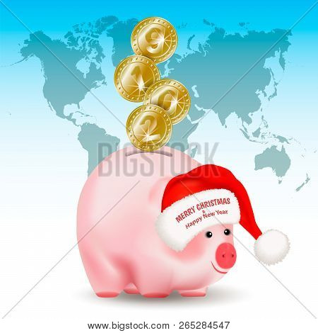 Symbolic Shiny Metal Golden Coins With Numbers 2019 Falling Into Money Pig Bank. Santa Claus Hat Wit