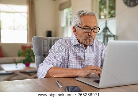 Senior man working with laptop at home. Old man using computer at home sitting on chair and looking at screen. Elderly grandfather wearing eyeglasses and working on laptop in living room.
