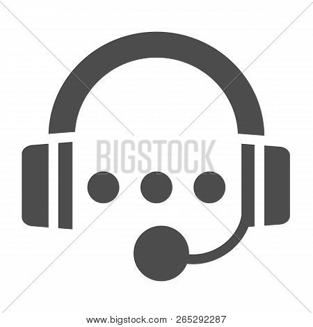 Support Solid Icon. Call Centre Vector Illustration Isolated On White. Headset Glyph Style Design, D