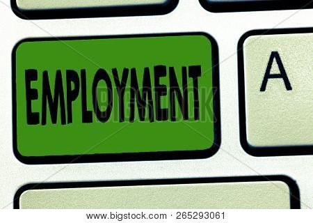 Handwriting Text Employment. Concept Meaning State Of Having Paid Work Occupation Utilization Of Som