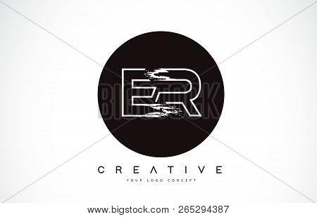 Er Modern Leter Logo Design With Black And White Monogram. Creative Letter Logo Brush Monogram Vecto